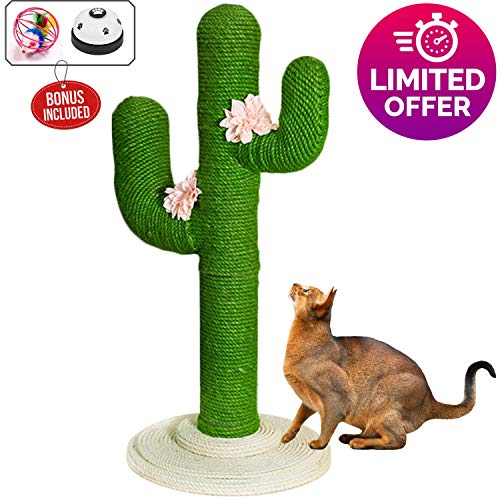 "TOPKITCH Cactus Cat Tree Climbing Frame(Handmade) 31.5"" - Jumping, Scratch and Educational Cat Toy"