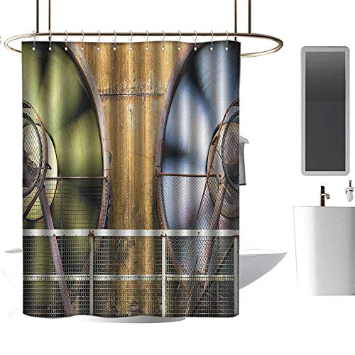 - TimBeve Polyester Shower Curtain Industrial,Moving Industry Fans Big Machinery Production Technology Twisting Fence Print, Multicolor,100% Polyester Fabric Bathroom Drapes 36