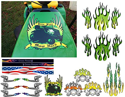 East Coast Vinyl Werkz Lawn Mower Hood Decals - Pick Style - for John Deere Lawn Garden Tractors (Live Free - Mow Hard Decal (1pc))