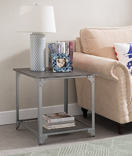 Grey Finish / Silver Metal Side End Table Nightstand with Me