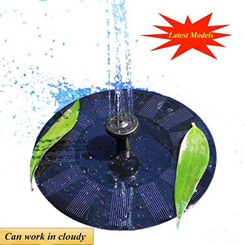 UFLYAY Solar Fountain Pump - 2018 Upgraded Can Work On A Cloudy Day - 1.4W Solar Panel Suitable Submersible Watering, Garden Decoration, Bird Bath, Fish Tank, Water Circulation Oxygen (Black) by UFLYAY