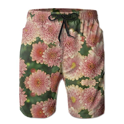 Blooming Summer Floral Men's Swim Trunks Quick Dry Bathing Suits Summer Casual Surfing Beach Shorts