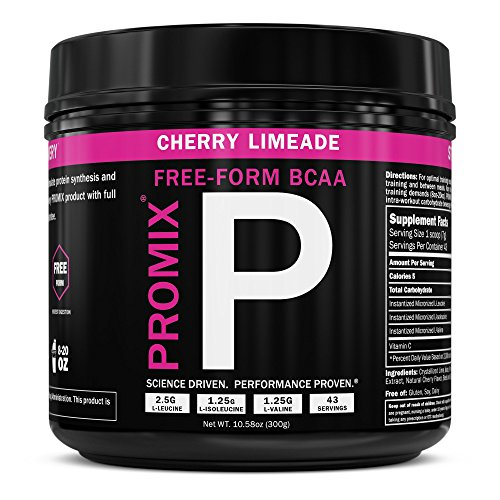 PROMIX: Cherry Limeade: BCAA powder, 2:1:1 Ratio of L-form Branched Chain Amino Acids. Dual Stage Micronized + Instanitized: No: Soy/GMO's. Mix Instantly. Lean Muscle and Fat Loss.