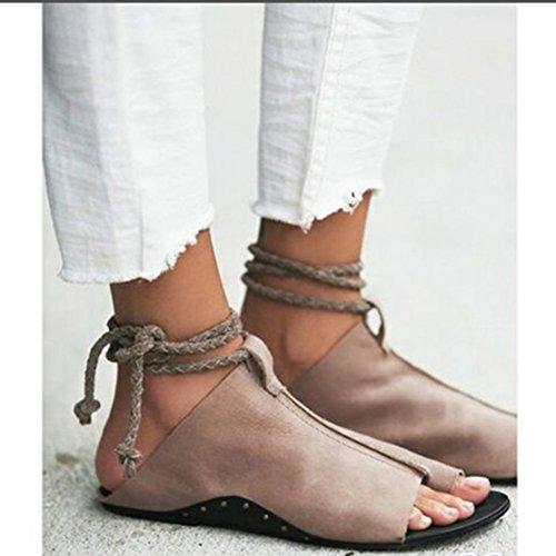 Sandalias Gran la o Vendimia de Dingcaiyi Sandalias de Tanga Playa Roman Tobillo Mujer Clip Boho de Planas Zapatos Tama la Verano o Oto para de del Calzado Correa Caf Espiga Pisos ZOZHvx1