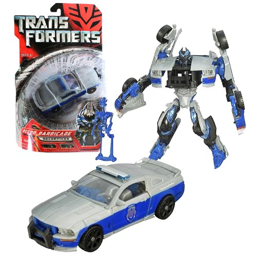 Hasbro Year 2007 Transformers Movie Series 1 Deluxe Class 6 Inch Tall Robot Action Figure - Decepticon RECON BARRICADE with Spring Loaded Punch Attack and Decepticon Frenzy Mini Figure (Vehicle Mode : Saleen S281 Gray/Blue Police Car)