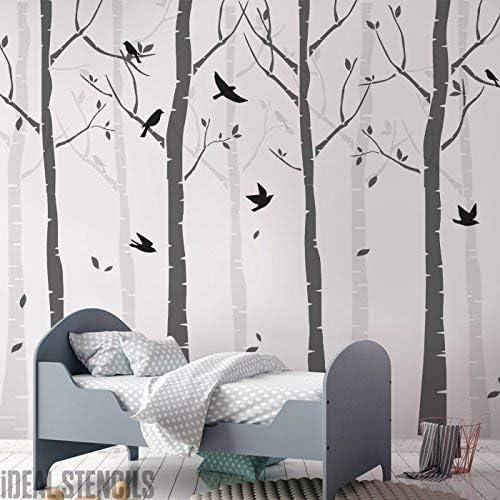 Bouleau Arbre For/êt Mur Cr/èche Pochoir Paquet Cr/éer un sur Mesure Peint D/écoration Murale de Bouleau Arbres /& Oiseaux dans Votre Nurserie D/écoration Mural Maison Pochoirs