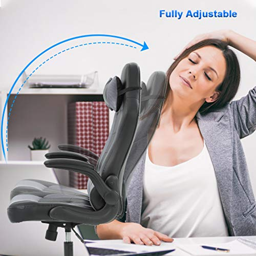Gaming Chair Office High-Back PU Leather Racing Chair Reclining Computer Executive Desk Chair with Lumbar Support Adjustable Arms Rolling Swivel Chair for Women, Men(Grey) by BestMassage (Image #1)