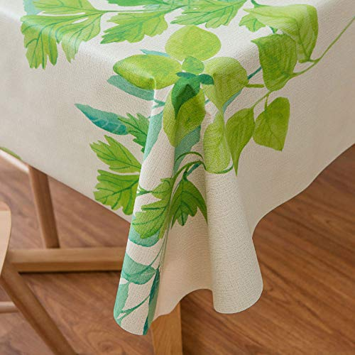 LEEVAN Heavy Weight Vinyl Rectangle Table Cover Wipe Clean PVC Tablecloth, Plastic Square Table Cloth Oil-Proof, Waterproof Stain-Resistant-54 x 54 Inch (Green Leaf)