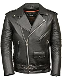 Men's Classic Side Lace Police Style Motorcycle Jacket (Black, XXX-Large)