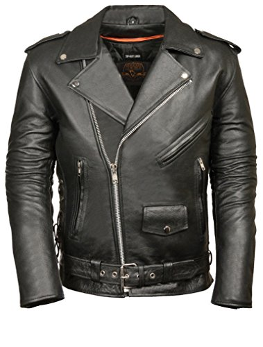 Classic Side Lace Motorcycle Jacket - MILWAUKEE LEATHER Men's Classic Side Lace Police Style Motorcycle Jacket (Black, Medium)