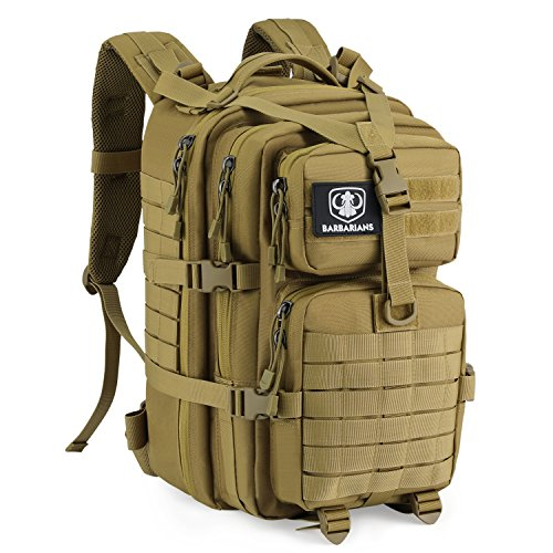 Upgraded SBS Zipper Tactical Molle Backpack, Barbarians 3 Day Assault Pack Bug Out Bag for Outdoor Hiking Camping Trekking Hunting 35L(Tan)