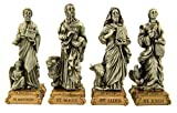 Pewter the Four Evangelists Saint Statues on Gold Tone Base, Set of 4, 4 1/2 Inch