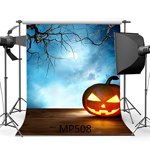 5X7FT/150X210cm Vinyl Photography Backdrop Halloween Horror Night Pumpkin Mysterious Moon Vintage Wood Floor Seamless Children Adults Costume Party Masquerade Portraits Background Studio Prop MP508 (Halloween Costume Using Umbrella)