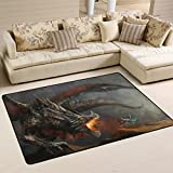 SAVSV 3' x 2' Area Rug Carpet Doormat Lightweight Printed Knight Fighting Dragon Easy to Clean For Living Room Bedroom