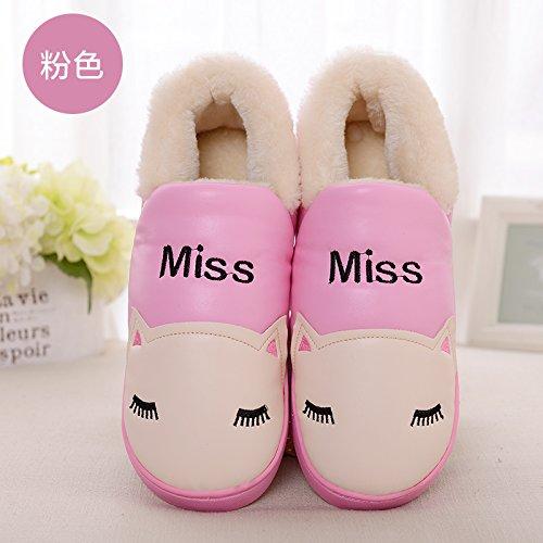 casa Rosa1 pantofole cotone con un Inverno donne di soggiorno paio con PU spessa pantofole uomini impermeabile di cartoon DogHaccd pantofole di e una confezione caldo nWS5xzUwYH