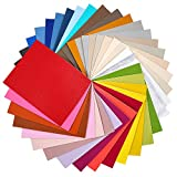 Caydo 36 Pieces Faux PU Leather Fabric Sheet, Litchi Leather Cotton Back Great for Hair Bows Making Craft, Christmas Decoration, Leather Earrings Craft and DIY Project (8.3 x 6.3 Inch)