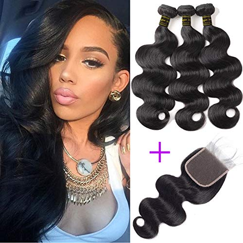 European Wave Body - Brazilian Body Wave 3 Bundles With Closure (12 14 16 + 12) Unprocessed Brazilian Human Hair Weave Bundles Body Wave Virgin Hair 3 Bundles With 4X4 Lace Closure Can Be Dyed And Bleached Natural Color.