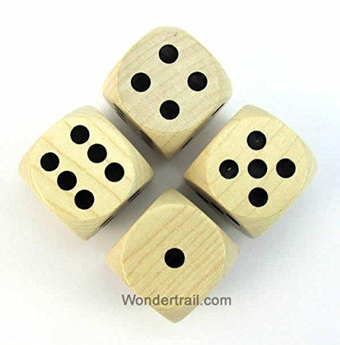 【良好品】 WKP02173E4 Natural Wood Dice with Black of Pips Dice D6 Wood 30mm (1.18in) Pack of 4 Dice Kaplow Games B00VWX3OQQ, 山の里:3575206f --- arianechie.dominiotemporario.com