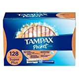 Tampax Pocket Pearl Plastic Tampons, Super Plus Absorbency, Unscented, 32 Count - Pack of 4 (128 Count Total) (Packaging May Vary)