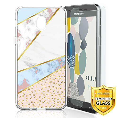 TJS Galaxy J3 2018/J3 V 2018/Express Prime 3/J3 Star/J3 Orbit/J3 Achieve/J3 Prime 2/Amp Prime 3/Sol 3 Case, with [Tempered Glass Screen Protector] TPU Matte Marble Transparent Soft Case (Leopard)