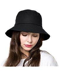 f897bf57ed5 Bucket Sun Hat Women Floppy Cotton Hats Wide Brim Summer Beach Caps SPF 50+  UV