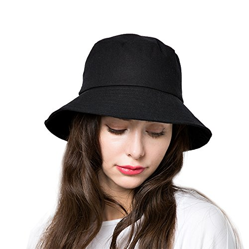 Ladies Bucket Hat - Bucket Sun Hat,Women Cotton Bucket Cap Summer Foldable Beach Hat with Wide Brim (B1-Black)
