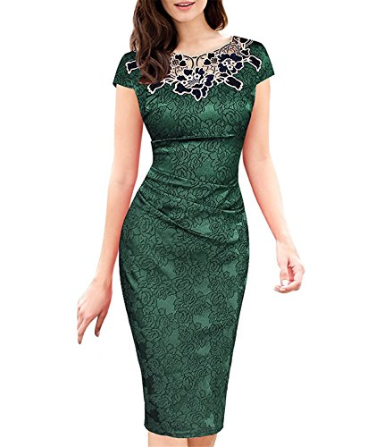 XZ5ZJhznz Fashion Womens embroidered Dobby fabric Ruched Party Cocktail Dress 3543 GRN 22 Green22 (70s Dress Up Ideas)