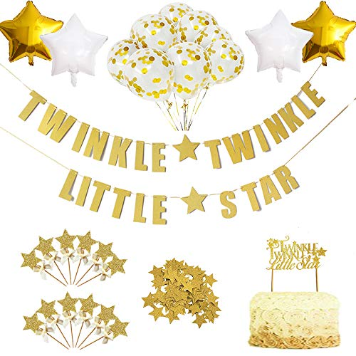Twinkle Star Theme Party Decorations Kit-Glitter Letter Banner