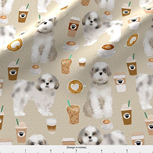 Shih Tzu Fleece (Shih Tzu Fabric Shih Tzu Coffee Fabric Cute Toy Breeds Dog Fabric - Khaki by Petfriendly Printed on Fleece Fabric by the Yard by Spoonflower)