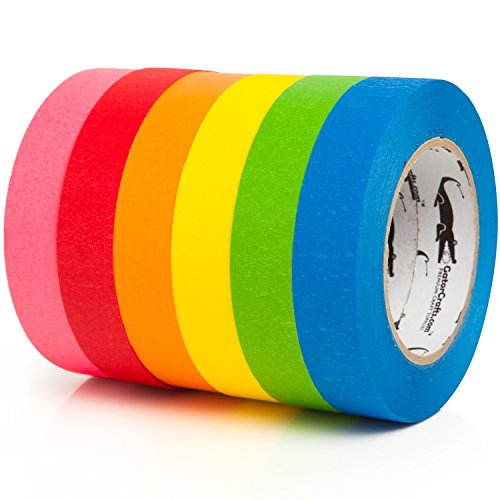 Colored Masking Tape Kids Craft Set | 6-PACK 1 Inch x 60 Yar