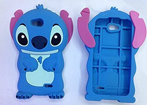 LG Optimus L90 Silicone Case, Stingna 3D Blue Stitch &Lilo Soft Silicone Case Cover For LG Optimus L90 (Covers Lg Optimus L90)