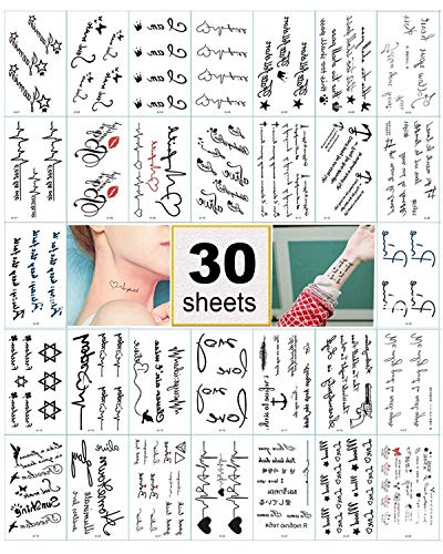 30 Sheets Temporary Tattoos Stickers, Waterproof Body Art Tattoo for Women Teens Girls Kids (Pattern 2)