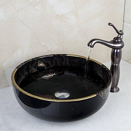 GOWE Bathroom Black Ceramic Washbasin Sink&Oil Rubbed Bronze Faucet Mixer Tap Bathroom Sinks Set 3