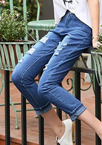 Jeans Denim Femmes Trous Grande Taille Bleu ZhuiKunA 1 Rtro Simple Lache Pantalons Fonc gCxUSnzwZq