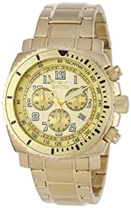 Invicta Men's 0619 II Collection Chronograph Gold Dial 18k Gold-Plated Stainless Steel Watch