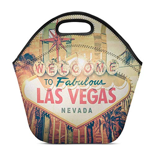InterestPrint Vintage Las Vegas Boulevard Entrance Sign City View Lunchbox Lunch Bag Tote Insulated Neoprene Food Container Gourmet Tote Cooler for Women Men and Kids