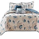 Ocean Themed Cotton Quilt Coverlet Set King Shell Starfish Print Reversible Bedspread Set Blue Patchwork King Size Coverlet Set Warm Soft Autumn Winter Bedding Quilt Set