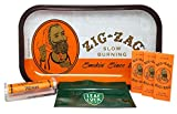 Zig Zag Orange Rolling Tray, Zig Zag Orange 1 1/4 Rolling Papers (3 Packs), Zig Zag Cigarette Maker and Leaf Lock Gear Smell Proof Tobacco Pouch