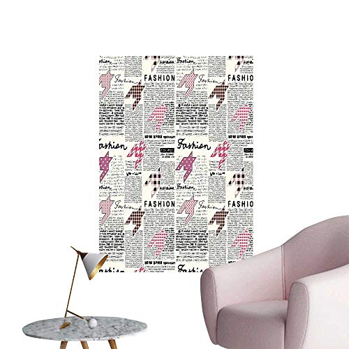 Wall Stickers for Living Room Retro Style Newspaper Colorful Modishn White Pink Vinyl Wall Stickers Print,32