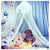Hidecor Mosquito Net Bed Canopy Netting Curtains Princess Stars Indoor Outdoor Dome Play Reading Nook Tent for Girls Boys Kids,White