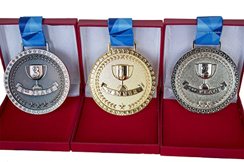 Promise of Quality Award Medals with Display Case, Olympic Style, Gold Silver Bronze (Set of 3), Premium Metal and Ribbon, Great Prize for Events, Classrooms, or Office Games, 1st 2nd 3rd Place -