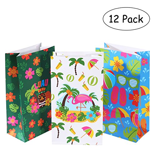 LUOEM Luau Hawaiian Treat Bags Hibiscus Gift Bags Treat Bags Candy Bags Paper Treat Sacks for Birthday Wedding Party Supplies -