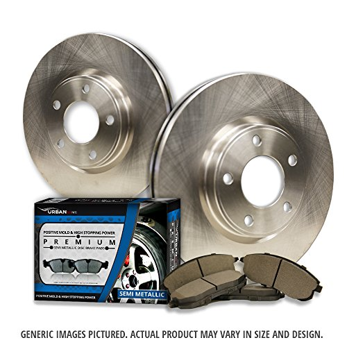 (Front Kit)2 Premium Disc Brake Rotors + 4 Semi-Met Pads(5lug)-Combo Brake Kit