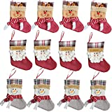 Forze Christmas 3D Decorative Socks Candy Gift Bag, Santa Snowman Reindeer Gift Card Silverware Holders 12 Pieces Mini Christmas Stockings Xmas Tree Decorations Set