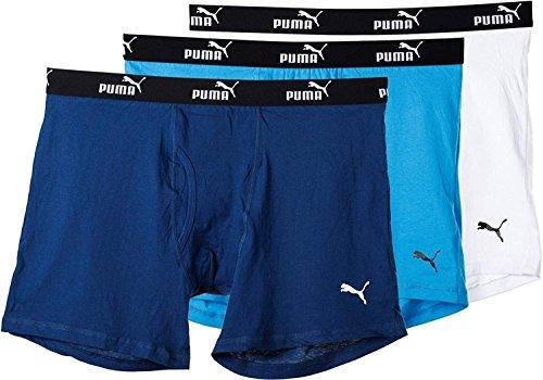 - Puma-PUMFW1411593-428-Athletic Fit Cotton Boxer Briefs-3 Pack-Blue/White-Medium