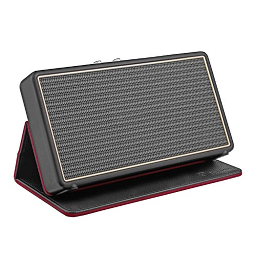 Dreamyth Leather Flip Cover Textured Stand Case for Marshall Stockwell Speaker (Black)
