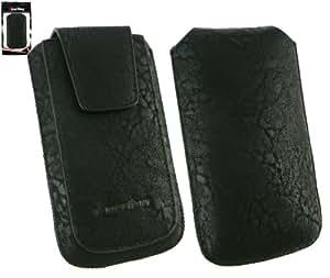 Emartbuy® Gama Classic Negro Lujo Pu Slide Cuero En Pouch / Case / Manga / Titular (Tamaño Xl) Con Magnético De La Aleta & Pull Tab Mecanismo Apto Para Samsung Galaxy Y Pro B5510