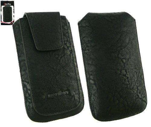 Emartbuy® Classic Noir Range Luxe En Cuir Pu Faites Glisser Pouch / Case / Sleeve / Holder (Taille XL) Avec Rabat Magnétique Et Pull Mécanisme Tab Convient Pour Apple Iphone 3G / 3Gs
