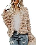 Foshow Womens Fashion Cardigan Coat Winter Open Front Shaggy Faux Fur Jacket
