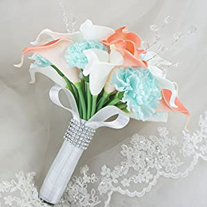 Lily Garden Real Touch Calla Lily Coral and White and Carnation Turquoise Flowers Wedding Bouquet (24 Stems Bouquet) 3